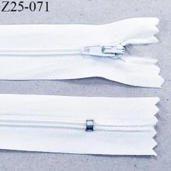 Fermeture 25 cm zip à glissière couleur blanc non séparable longueur 25 cm largeur 2.5 cm  glissière nylon largeur 4 mm
