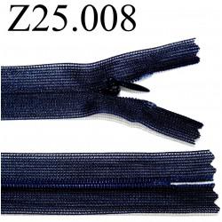 fermeture éclair invisible longueur 25 cm couleur bleu non séparable zip nylon largeur 2,3 cm