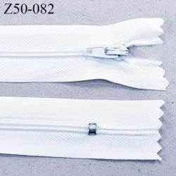 Fermeture 50 cm zip à glissière couleur blanc non séparable longueur 50 cm largeur 2.5 cm  glissière nylon largeur 4 mm