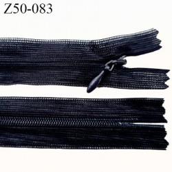 Fermeture zip à glissière invisible longueur 50 cm couleur bleu foncé non séparable largeur 2 cm glissière nylon largeur 4 mm