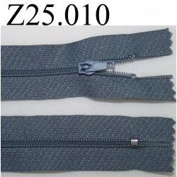 fermeture éclair grise longueur 25 cm couleur gris non séparable zip nylon largeur 2,5 cm