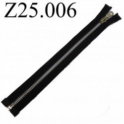 fermeture éclair  longueur 25 cm couleur noir non séparable zip métal largeur 2,5 cm