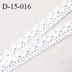Dentelle crochet 15 mm couleur blanc largeur 15 mm prix au mètre