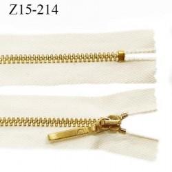 Fermeture zip 15 cm non séparable couleur doré or brillant longueur 15 cm largeur 2.5 cm glissière en métal prix à la pièce