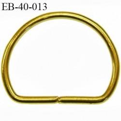 Etrier boucle 40 mm demi rond métal doré brillant largeur extérieur 5.3 cm intérieur 4 cm idéal sangle  40 mm hauteur 4.3 cm