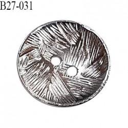 Bouton 27 mm en métal couleur chrome 2 trous diamètre 27 mm épaisseur 2 mm prix à l'unité