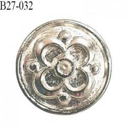 Bouton 27 mm en métal couleur argent accroche avec un anneau diamètre 27 mm épaisseur 3.5 mm prix à l'unité