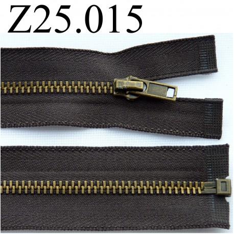 fermeture éclair  longueur 25 cm couleur marron taupe non séparable zip métal largeur 2,5 cm