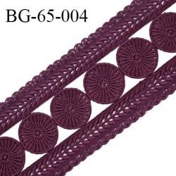 Galon ruban passementerie largeur 65 mm couleur bordeaux coton et synthétique prix au mètre