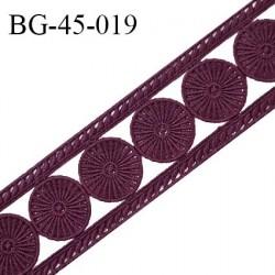 Galon ruban passementerie largeur 45 mm couleur bordeaux coton et synthétique prix au mètre