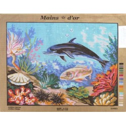 "Canevas à broder 50 x 60 cm marque MAINS D'OR thème ""le dauphin"""