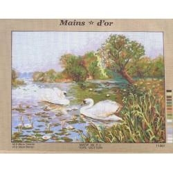 "Canevas à broder 50 x 60 cm marque MAINS D'OR thème ""les cygnes"""