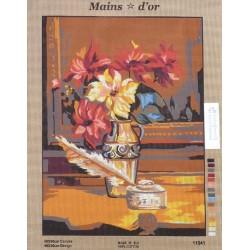 """Canevas à broder 50 x 60 cm marque MAINS D'OR thème """"bouquet et encrier"""""""