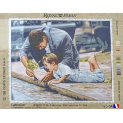 Canevas à broder 45 x 65 cm marque ROYAL PARIS thème L'EDUCATION d'après Kim ANDERSON fabrication française