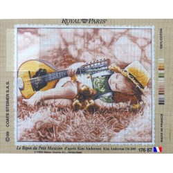 Canevas à broder 45 x 65 cm marque ROYAL PARIS thème LE REPOS DU PETIT MUSICIEN  d'après Kim ANDERSON fabrication française