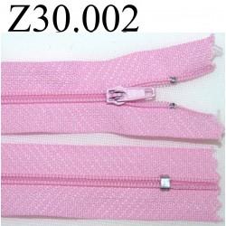 fermeture éclair  longueur 30 cm couleur rose non séparable zip nylon largeur 2,5 cm