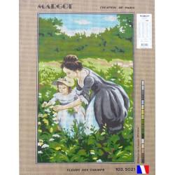 Canevas à broder 45 x 65 cm marque MARGOT thème FLEURS DES CHAMPS fabrication française