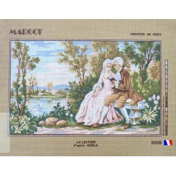 Canevas à broder 45 x 65 cm marque MARGOT thème LA LECTURE D'APRES DARLA fabrication française
