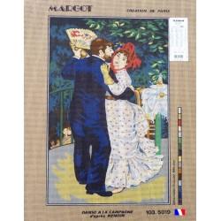 Canevas à broder 45 x 65 cm marque MARGOT thème DANSE A LA CAMPAGNE D'APRES RENOIR frabrication française