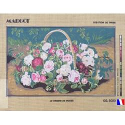 Canevas à broder 45 x 65 cm marque MARGOT thème LE PANIER DE ROSES fabrication française