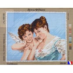 Canevas à broder 45 x 65 cm marque ROYAL PARIS thème CONFIDENCES fabrication française