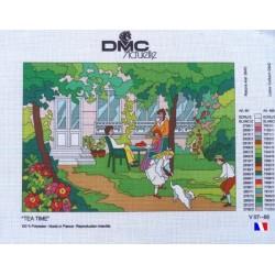"""Canevas à broder 50 x 65 cm marque DMC ACTUELLE thème """"tea time"""" fabrication française"""
