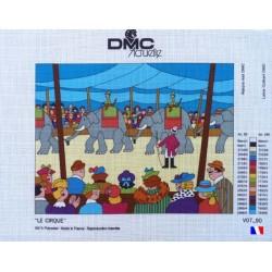 """Canevas à broder 50 x 65 cm marque DMC ACTUELLE thème """"le cirque"""" fabrication française"""