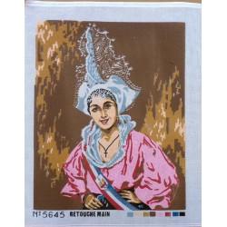 Canevas à broder 50 x 60 cm  thème COIFFE TRADITIONNELLE REGIONALE retouché main