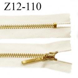 Fermeture zip 12 cm couleur beige longueur 12 cm largeur 2.8 cm non séparable glissière métal couleur doré prix à l'unité