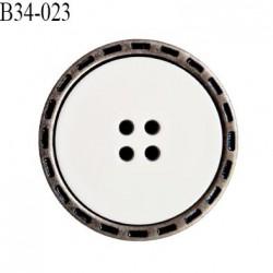 Bouton 34 mm en pvc couleur chrome vieilli et blanc 4 trous diamètre 34 mm épaisseur 6 mm prix à l'unité
