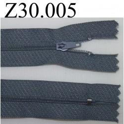 fermeture éclair grise longueur 30 cm couleur gris non séparable zip nylon largeur 2,5 cm