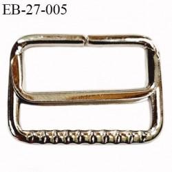 Boucle étrier rectangle  27 mm coulissant métal  chromé largeur extérieur 3 cm intérieur 2.7 cm hauteur 2.4 cm