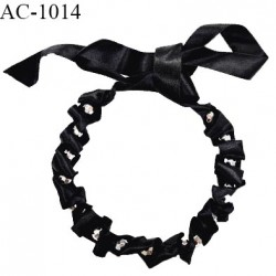 Collier à nouer en tissu brillant style satin couleur noir avec perles facettes couleur argent longueur 40 cm prix à la pièce
