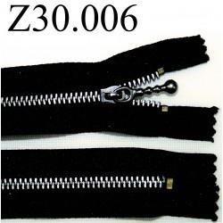 fermeture éclair longueur 30 cm couleur noir non séparable zip métal largeur 2,5 cm