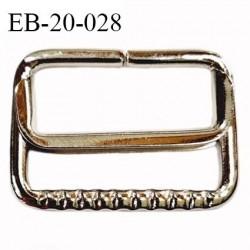 Boucle coulissante rectangle métal chromé largeur extérieur 2.8 cm intérieur 2.3 cm hauteur extérieur 2.1 cm prix à l'unité