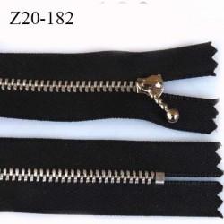 Fermeture 20 cm zip à glissière longueur 20 cm couleur noir non séparable zip métal alu largeur 2.7 cm largeur du zip 4 mm