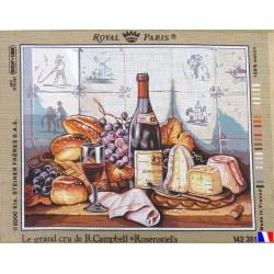 Canevas à broder 45 x 60 cm marque ROYAL PARIS thème le grand cru de R.CAMPBELL fabrication française