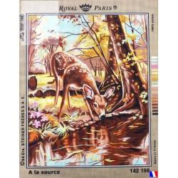 Canevas à broder 45 x 60 cm marque ROYAL PARIS thème à la source et le faon fabrication française