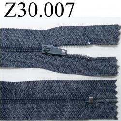 fermeture éclair longueur 30 cm couleur gris bleuté non séparable zip nylon largeur 2,5 cm