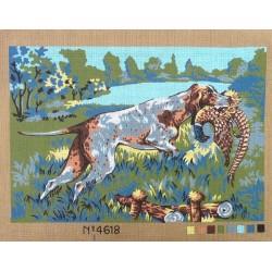 Canevas à broder 40 x 60 cm  thème CHIEN DE CHASSE AU FAISAN