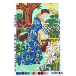 Canevas à broder 40 x 60 cm  thème femme à l'arrosoir retouché main fabrication française