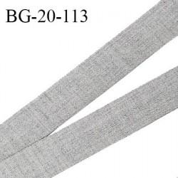 Galon ruban 20 mm très solide renfort à l'arrière couleur gris chiné largeur 20 mm prix au mètre