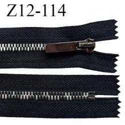 Fermeture zip 12 cm non séparable couleur noir glissière métal couleur chrome prix à l'unité