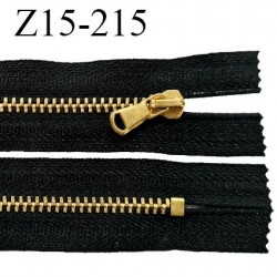Fermeture zip 15 cm non séparable couleur noir longueur 15 cm largeur 3 cm glissière métal couleur or prix à l'unité