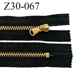 Fermeture zip 30 cm non séparable couleur noir longueur 30 cm largeur 3 cm glissière métal couleur or prix à l'unité