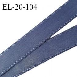 Elastique 19 mm bretelle et lingerie avec surpiqûres couleur encre bleue forte élasticité fabriqué en France prix au mètre