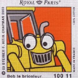 Canevas à broder ENFANT 15 x 15 cm marque ROYAL PARIS SCOUP LE TRACTOPELLE fabrication française