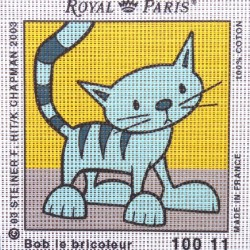 Canevas à broder ENFANT 15 x 15 cm marque ROYAL PARIS BOB LE BRICOLEUR SARDINE LE CHAT fabrication française
