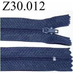 fermeture éclair  longueur 30 cm couleur bleu non séparable zip nylon largeur 2,5 cm