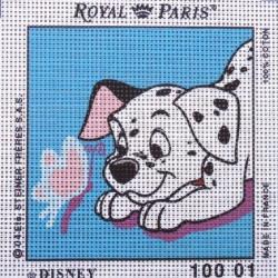 Canevas à broder ENFANT 15 x 15 cm DISNEY marque ROYAL PARIS LES 101 DALMATIENS fabrication française